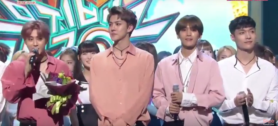 Suho brings EXO L to tears with his winning speech on Music Bank referencing recent events allkpop