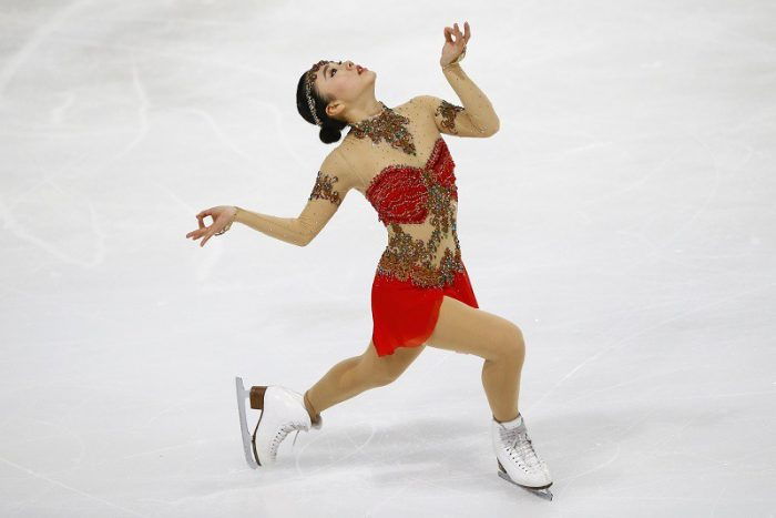 Wakaba Higuchi of Japan competes in the Ladies Free Skating Program during the ISU figure skating France's Trophy at Bercy arena, in Paris, France, Saturday, Nov. 12, 2016. (AP Photo/Francois Mori)